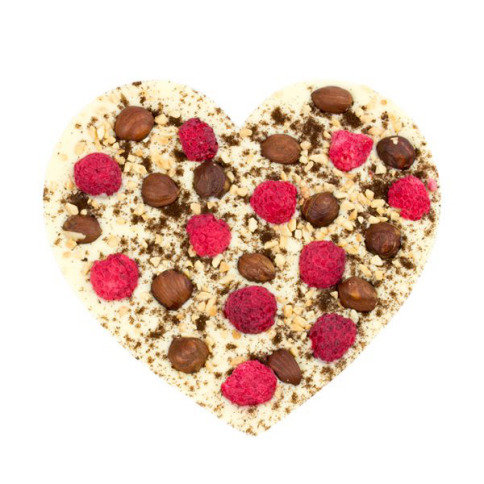 White chocolate heart with Raspberries XL